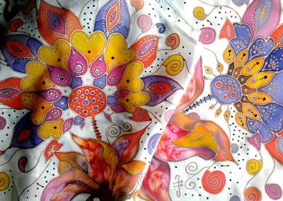 копринен шал Измислени цветя
