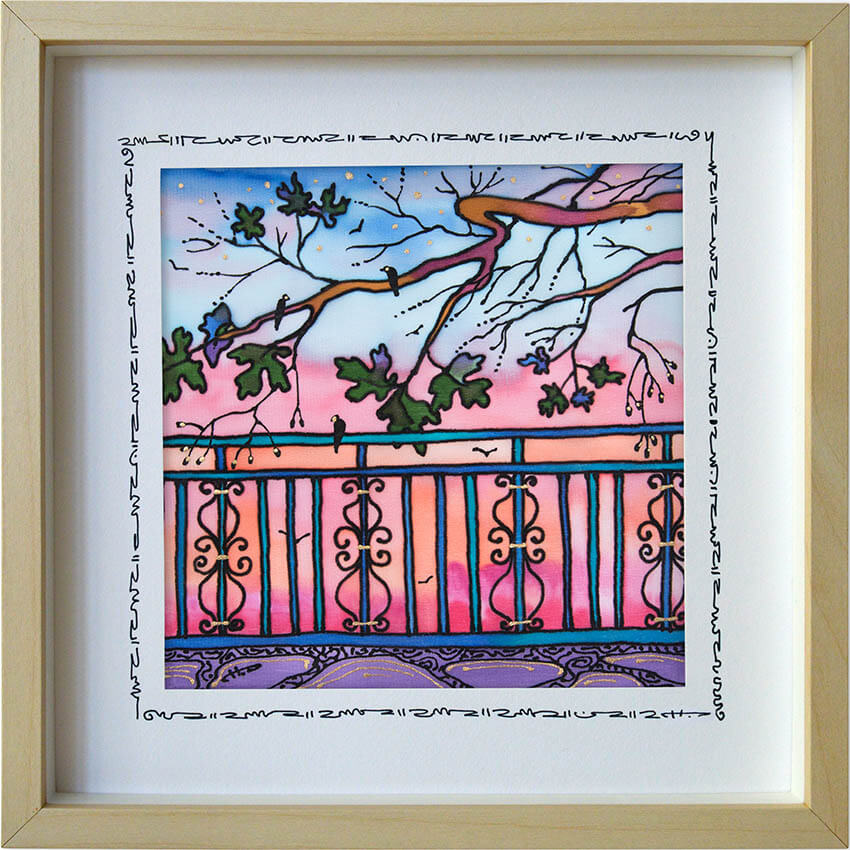 Копринена картина Розово от терасата