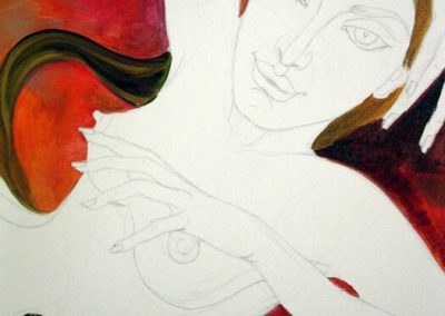 В ателието - Картината Морана в процес на работа