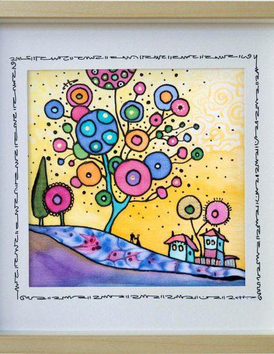Копринена картина Дървото с балони