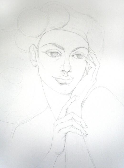 В ателието - Рисунка за картината Там