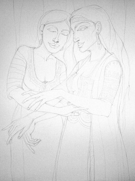 В ателието - Рисунка за картината Двете