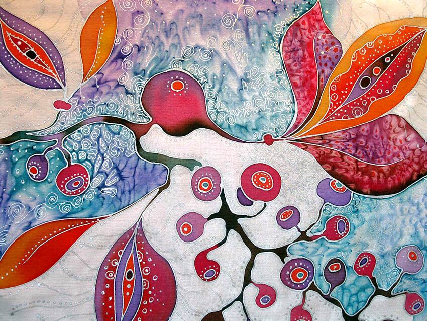 копринен шал Еротични цветя