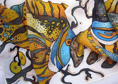 копринен шал Риби