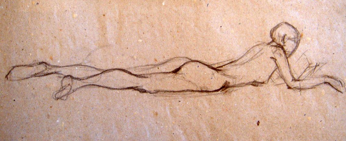 Рисунка на легнала жена