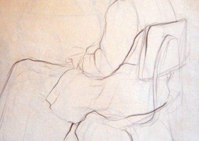 Рисунка на женска фигура на стол