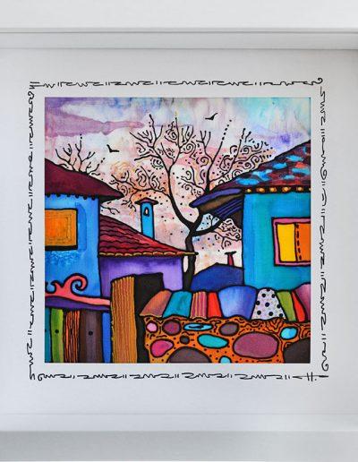 Копринениа картина Вечер в къщата на баба