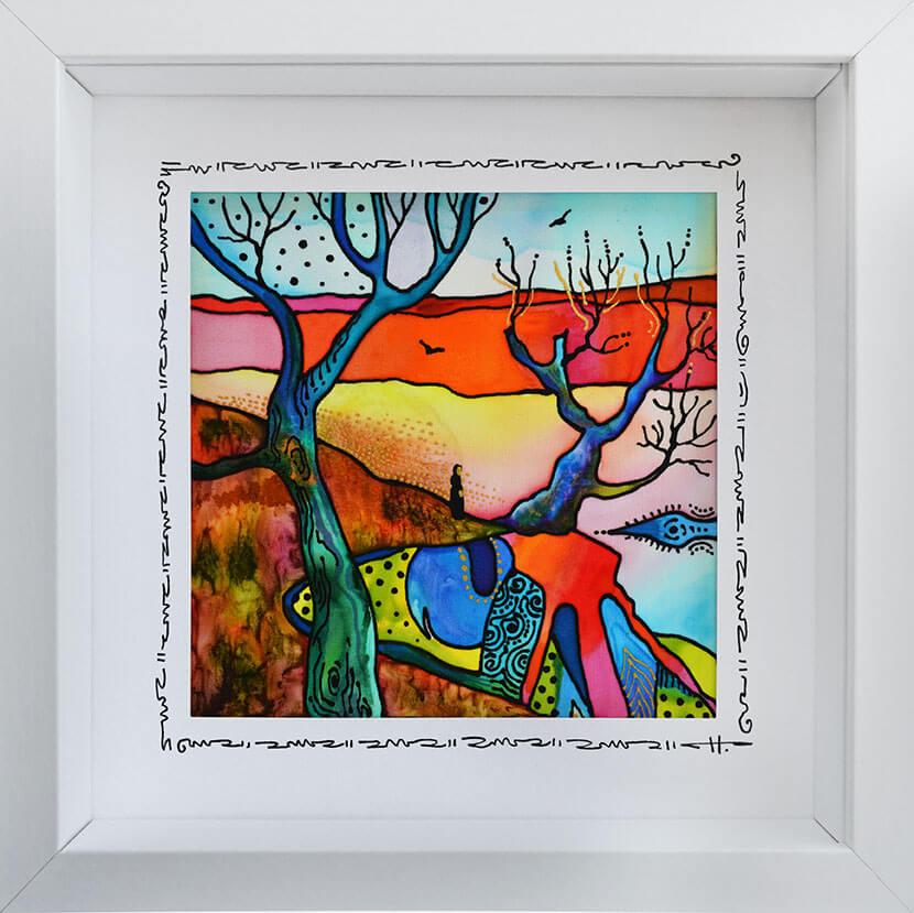 Копринениа картина Тишина в цвят